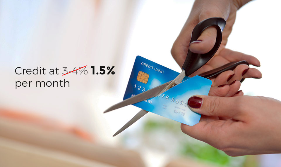 Credit at half the rate of interest compared to credit card